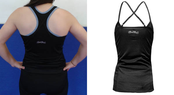 Left: Worn over the top of the Bad Girl Sports Bra. Right: Top on its own