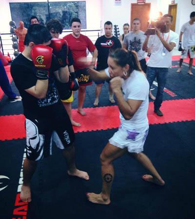 Cris Cyborg teaching at the Team Nogueira Bauru gym in Sao Paulo
