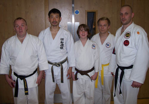 Master Nobuaki Kanazawa (second from left) and Dan (far right) on 5th May 2013.