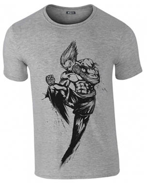 Muay Thai demon performing a flying knee. Raijin Fightwear clothing takes on a street art edge